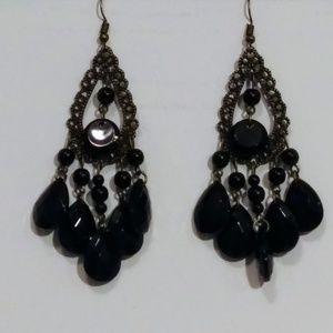Black Fashion Earrings NWT